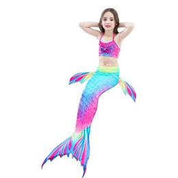 sereia trajes criança Desconto 3 PCS Meninas Sereia Caudas Cosplay Swimsuit Crianças Maid Fish Terno de Banho Natação Traje Monofin Crianças Bikini Swimwear 4 Cores