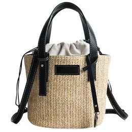 Соломенное ткачество онлайн-Woman Beach Straw Weaving Shoulder Bag Ladies Trendy Summer Bucket Bag Hand Bohemia Beach Bolsa Feminina