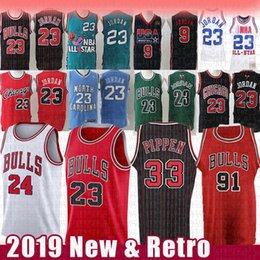 2019 mesh-basketball-trikots NCAA Jersey 23 Michael Dennis Rodman 91 Scottie Pippen 33 Lauri 24 Markkanen Mesh-Retro North Carolina State University Basketball-Trikots günstig mesh-basketball-trikots
