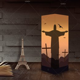 Lámpara de estudio diy online-Creativo Night 3D de luz LED táctil Jesús lámpara de escritorio de la sombra de la lámpara decorativa del estudio del dormitorio de noche Luz USB 3D