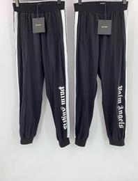 Pantalones morados de hip hop online-2019SS Palm Angels Pantalones Mujer Hombre Joggers de alta calidad Streetwear Swre Pear Pantalones de chándal Moda Púrpura Pantalones de chándal negros ENVÍO GRATIS