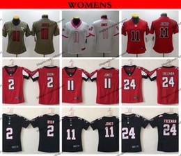 e27eec1a75d Womens Atlanta Ladies Falcons 2 Matt Ryan 11 Julio Jones 24 Devonta Freeman  Black Red Football Jersey