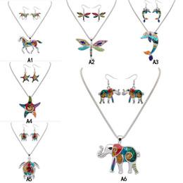 New Rainbow Emaille Schmuck Set einhorn libelle delphin Elefant starfish Turtle Anhänger Halskette Baumeln Ohr haken Ohrring Für frauen von Fabrikanten
