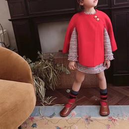 più il cappotto di plaid rosso di formato Sconti Set di vestiti per bambini 2 pezzi Red Coat Plus Abito a quadri per bambini Autunno Abiti casual Taglia 2-12Y Vendita in stock