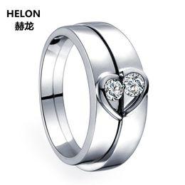 2019 anel de casal de ouro branco de 14k Sólido 14 k Ouro Branco Diamantes Naturais Mulheres Noivado Anel De Casamento Dos Homens Conjuntos De Noiva Casal Anéis 0.05ct + 0.09ct anel de casal de ouro branco de 14k barato