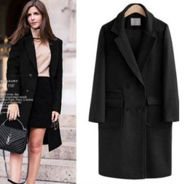 5 Color Women Europe Fashion Turn down Knee length Long Sleeve Solid Color Wild Cashmere Winter Coats Jackets Pocket Casual Jacket @ VOVA