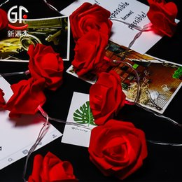 führte höhlenlampe Rabatt INS Weihnachts Liebhaber Festival Hochzeit Dekoration Rose String künstliche Rose Lichter Batterie-Schnur-Licht