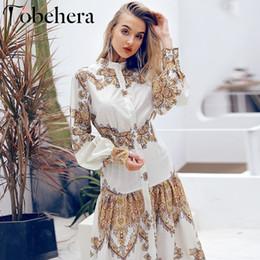 2019 blu linda Glamaker Paisley maxi stampa donne si vestono Boho estate lunga del vestito elegante casuale abito vintage floreali festa notte divise sexy vendita V191019