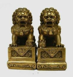 Löwe foo fu hund statue online-China Chinese Messing Folk Fengshui Foo Fu Hund Guardion Tür Lion Statue Paar