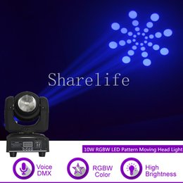 2019 15w mini luce in movimento testa Sharelife Mini 10 / 30W RGBW LED 7 Gobo DMX 9/11 Canali a testa mobile per DJ Party Home Show Gig Bar Scene Stage Lighting