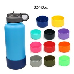 Protective Silicone Flask Bottom Cover 32oz 40oz Soft Wide Mouth Vacuum Anti-Slip Water Bottle Sleeve OOA6066