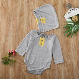 chapéus bola de futebol Desconto Pudcoco manta Bodysuit Recém-nascido Bebé Rapazes Meninas roupas manga comprida Jumpsuit geral Hat Outfits Set