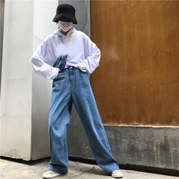 2020 длинные широкие джинсы 2019 Summer Women Streetwear High Waist Denim Long Trouser High Street Loose Pocket Button Straight Wide Leg Jeans скидка длинные широкие джинсы
