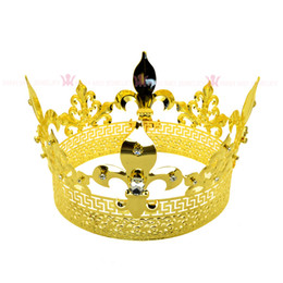 2020 joyería medieval Hombres Tiara King Crown Imperial Medieval Crowns cosplay Modelo Show Queen Hair Jewelry Gold Prince Hairwear Vintage Crowns Mo198 joyería medieval baratos