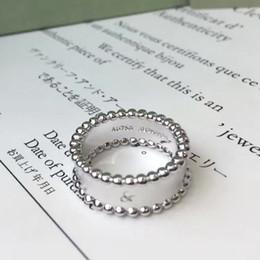2019VC * двухрядные Круглые бусины Глянцевая дизайн кольца Посеребренная Ширина 0.8cm Пара цветок кольцо Рождественские украшения от