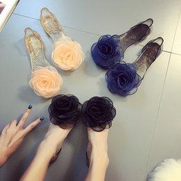Argentina Nuevas sandalias veraniegas flores color de rosa de cristal transparente inferior jalea zapatos hembra boca de pescado zapatos de arena plana playa zapatillas frescas 35-40 Suministro
