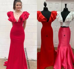 Argentina Dos estilos de sirena vestidos de fiesta rojos largos 2019 espalda abierta de satén de lujo sin espalda sexy niñas negras africanas vestidos formales de fiesta envío gratis Suministro