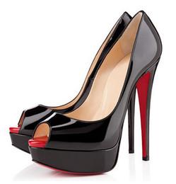Cuir sexy femme rouge en Ligne-2019 Rouge Bas Cuir Diamant Haut Talons Peep-Toe Femmes Chaussures Sexy Cloutés Rouge Bas Talon Femme mariage Pompes