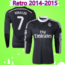 Ronaldo camisa manga longa real madrid on-line-Ronaldo Benzema Isco Manga Longa 2014 2015 Real Madrid retro camisa de futebol 14 15 do terceiro ano camisa de futebol preto Chinês dragão