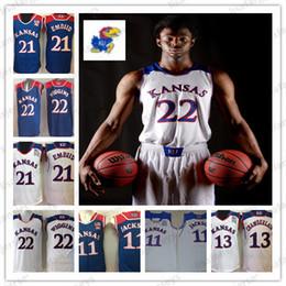 michael jackson azul Desconto Kansas Jayhawks camisa de basquete 22 Wiggins 11 Josh Jackson 21 Embiid 13 Chamberlain Costurado Colégio Basquete Jerseys tamanho S-xxxL