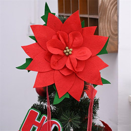 grandes têtes de fleurs rouges Promotion 34cm Large Artificial Red Flower Heads Christmas Tree Toppers Home Wedding Decoration DIY Red Flower Christmas Tree Ornaments