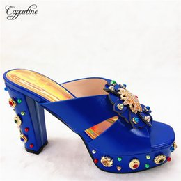 royal blue decorations for party Promo Codes - New arrival royal blue with nice decoration high heel slip-on shoes for party CFS13, many color