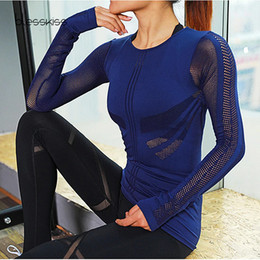 ladies white sports tops Coupons - BLESSKISS Mesh Sport Shirts Top Women  Long Sleeve Yoga Fitness ed65e12ced