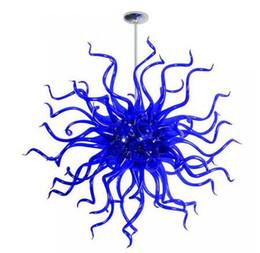 2020 lampadari sferici Soffiato stile del fiore blu lampadario lampada a sospensione a risparmio energetico a mano Sorgente luminosa di vetro forma sferica lampadario lampadari sferici economici