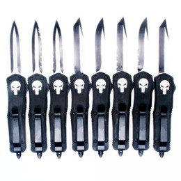 stylo tactique Promotion combat Troodotfn samll A07 7inch crâne double action en option chasse couteau de poche automatique Survie couteau couteau cadeau de Noël pour hommes