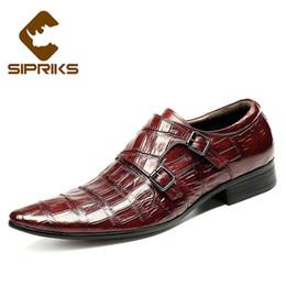 Zapatos de vestir de punta borgoña para hombre online-Zapatillas de piel de cocodrilo para hombre SIPRIKS clásicas correas con doble monje negro zapatos de vestir de color borgoña con punta estrecha y correas de hebilla europeas # 36960