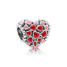 Joyas de cuentas rojas online-Auténtica plata de ley 925 esmalte rojo Love Heart Charms Caja original para Pandora European Bead Charms Pulsera joyería que hace accesorios
