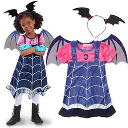 Desenhos animados de vampiros on-line-Vestido De Vampiro Cosplay Com Asas De Morcego Headwear Vampiro Dos Desenhos Animados Da Princesa Do Partido Do Dia Das Bruxas Vestido De Roupas Da Menina Do Vampiro