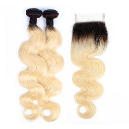 1B 613 Ombre Sarışın İnsan Saç Demetleri Ile Kapatma Vücut Dalga Koyu Kökleri Brezilyalı Bakire Saç Uzantıları 2 Demetleri ile 4x4 Dantel Kapatma nereden