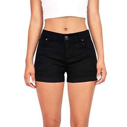 2019 sexy hoch taillierte skinny jeans Schwarz Denim Shorts Baumwolle Hohe Taille Mode Knopf Taschen Dünne Frauen Shorts Sommer Sexy Jean rabatt sexy hoch taillierte skinny jeans