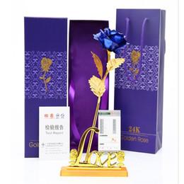 2019 fiori d'anniversario d'oro di nozze 24K Gold Foil Rose Full Blossom Flower Artificial Golden Rose con confezione regalo per San Valentino Festa della mamma Anniversario matrimonio Decorare sconti fiori d'anniversario d'oro di nozze