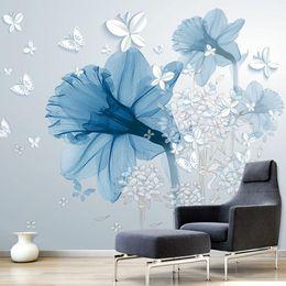 Murales blu fiore online-Modern Abstract Art Mural Wallpaper 3D Stereo Blue Flowers Farfalla Foto Wall Painting Soggiorno creativo Home Decor Affresco