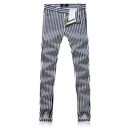 Мужские белые брюки онлайн-High Quality White Striped Pants men Size 29-38 Fashion Casual mens Trousers Slim fit men dress pant