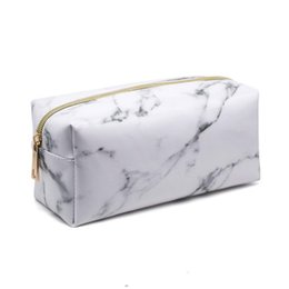 beauty bedding Coupons - PU Women Cosmetic Bag Rectangle Marble Pattern Portable Fashion Function Beauty Travel Make Up Bag Storage Wash
