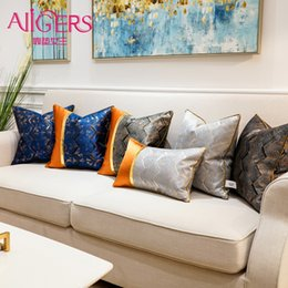 Cuscini in oro blu online-Fodere per cuscini decorativi a righe di lusso grigio blu navy Avigers Fodere per cuscini per divani camera da letto