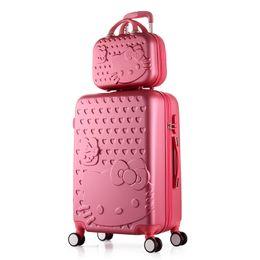 Девушки чемодан багажа онлайн-Hello Kitty Trolley Чемодан Симпатичные Набор Роллинг Багаж Женщины Девушки Макияж Тележка Case Путешествия Багаж Роллинг Чемодан