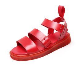 Leder gladiator sandalen männer online-Dr Männer Sandalen Sommer Slip-On Peep Toe Casual Frau Schuhe 2019 Neue Echtes Leder Gladiator Sandalen Mode Weibliche Schuhe
