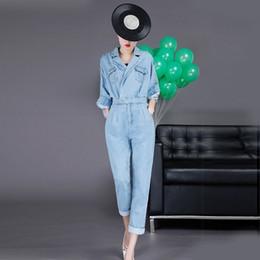 Джинсовый комбинезон с высокой талией онлайн-Повседневная Джинсовые Комбинезоны Женские Высокой Талией Отворот Шеи С Длинным Рукавом Комбинезон Для Женщин Плюс Размер 2019 Мода Tide