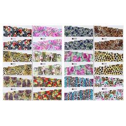 Stampa di adesivi diy online-12pcs Leopard Print Nail Art Acqua Trasferimento adesivi Decalcomania DIY Nail Tips