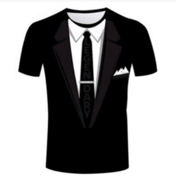T-shirt da smoking online-New Fashion Uomo / Donna Tuxedo Divertente 3D T-shirt Casual T-Shirt a maniche corte Tops Estate ZC083