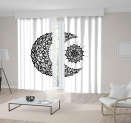 patrones de arte Rebajas Patrón de luna y sol con formas geométricas Obra étnica oriental Blanco y negro Cortina impresa