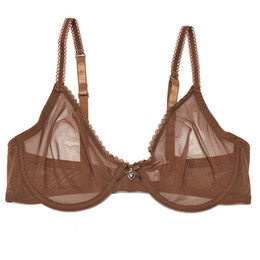 Vendita delle mutandine di bras online-YANDW Brown Bras Panties Vendita Separato trasparente Mesh See Through Stretch Donne Sexy Lingerie Big Plus Size BH Set 3 colori