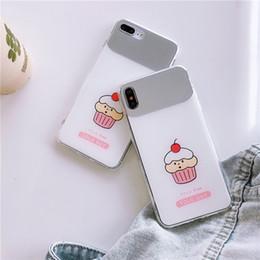 handy kuchen Rabatt Für iphone xr xs max telefon case kirschkuchen make-up spiegel 6 7 8 x plus weiche kante harte rückseite handy case