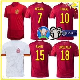 kit spain Desconto 2020 Espanha Casa Fora Soccer Jersey ASENSIO MORATA ISCO INIESTA Paco Alcácer THIAGO Futebol homem adulto e infantil kit camisas