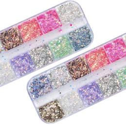 12 colori di chiodo scintillio polvere colorata bellissime unghie fette decorativo sottili particelle esagonali Nail Art polvere luminosa da