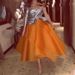 vestido de baile de renda de tulle macio Desconto 2020 moda cinza e laranja Prom Dresses Sexy de um ombro mangas compridas vestidos de noite Arábia árabe Dubai imagem real vestido de festa Formal